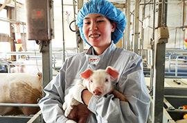 子豚を抱いている笑顔の女性スタッフの写真