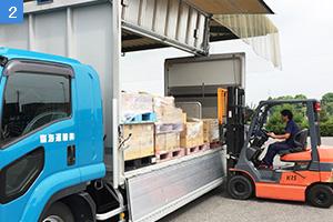 フォークリフトでトラックに荷物を積み込む社員